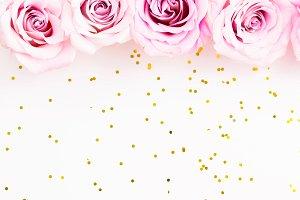 Wild Pink Roses on Glitter Photo