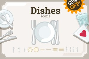 Dishes icons set (61+50)