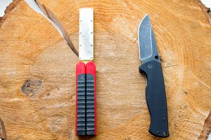 Knife and sharpener.