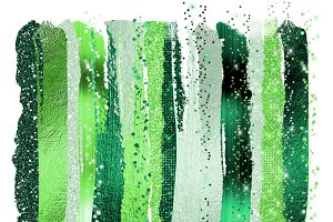 Green Glam Paint Strokes Clipart
