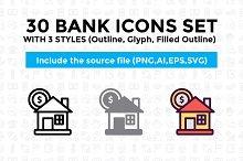 30 Bank and Finance Icon Set