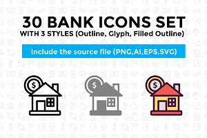 30 Bank and Finance Icon Set