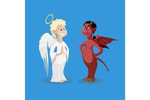 Religion characters. Kind angel and cruel devil