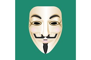 Anonymous mask isolated on green. Mysterious person masque