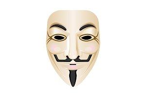 Hacker mask vector icon isolated on white. Stylised portrayal