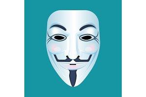 Guy Fawkes mask stylised depiction isolated on blue.