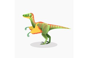 Lesothosaurus isolated cartoon vector. Monster, prehistoric animal.