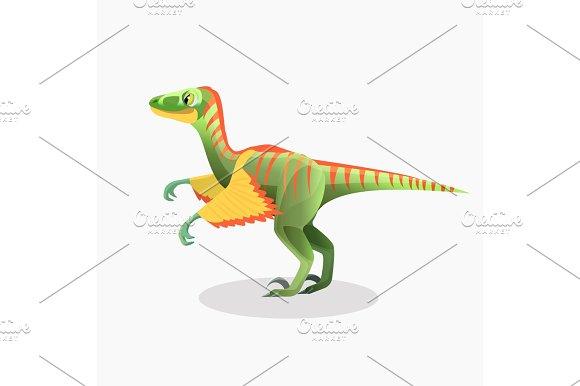 Lesothosaurus isolated cartoon vector. Monster, prehistoric animal.