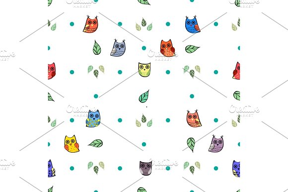 Owl and leaves vector seamless pattern
