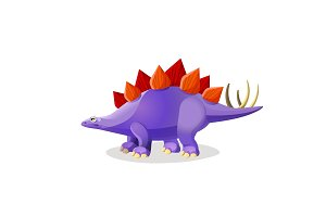 Stegosaurus isolated on white. Genus of armored dinosaur