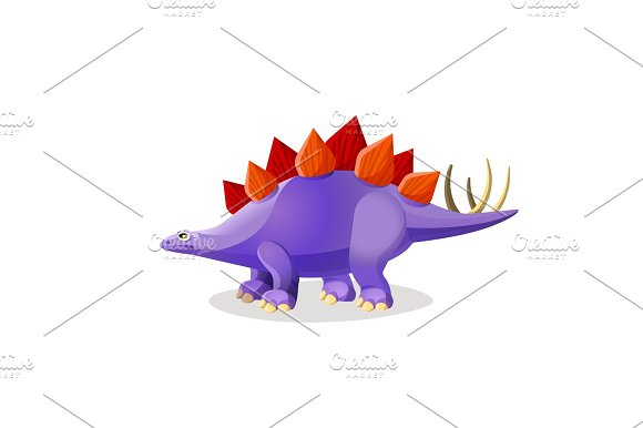Stegosaurus isolated on white. Genus of armored dinosaur