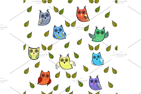 Owl and leaves vector seamless pattern in Illustrations