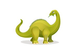 Diplodocus isolated on white. Extinct genus of diplodocid dinosaurs.