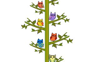 Owl on a tree branch vertical vector seamless pattern