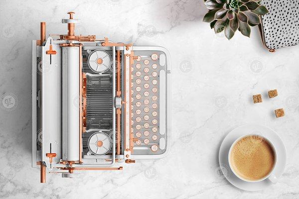 White & Rose gold typewriter 24-000…