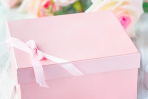 Pink gift box and bouquet
