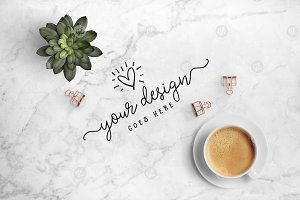 Coffee & succulent on marble 24-0015