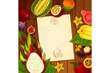 Exotic fruits vector recipe note blank