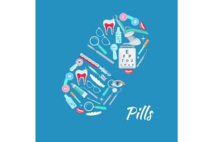 Pill dentistry ophthalmology vector poster