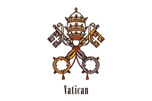 Vatican keys symbol coat of arms vector icon