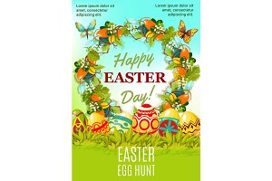 Easter holiday egg hunt cartoon poster design