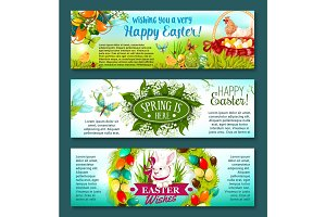 Easter egg, rabbit and flowers festive banner set