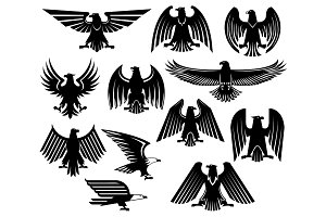 Eagle vector heraldic icons or emblems set