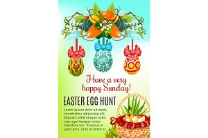 Easter egg hunt basket holiday poster design