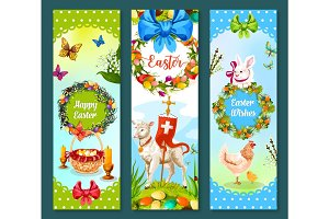 Easter spring holiday festive banner set design