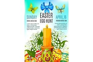 Easter egg hunt celebration poster template design