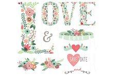 Floral LOVE Wedding Set