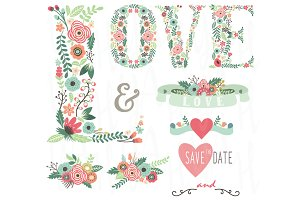 Floral LOVE Wedding Set