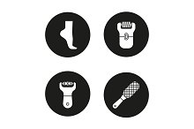 Feet care. 4 icons. Vector
