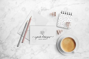Cute greeting card mockup + PSD