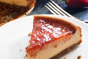 Homemade cheesecake portion