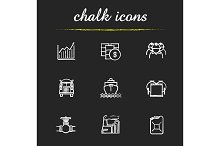 Oil industry. 9 icons. Vector