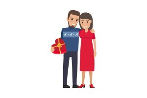 Couple hugs and Makes Gift. Holiday Illustration