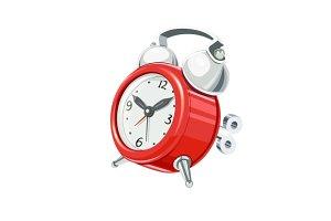 Vintage alarm clock with arrow and bells