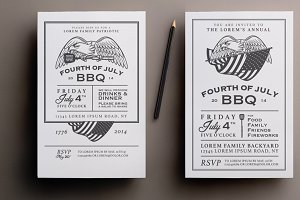 Two 4th of July bbq invitations