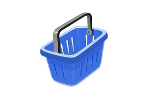 Blue plastic basket for shopping.