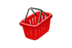 Red plastic basket for shopping.