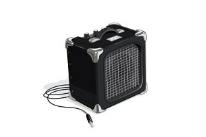 Black guitar combo amplifier with cord