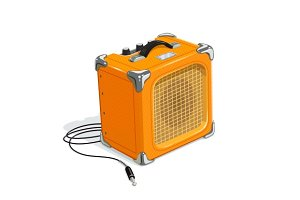 Orange guitar combo amplifier with cord