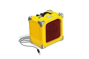 Yellow guitar combo amplifier with cord