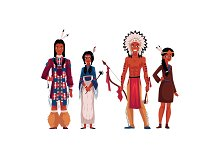 Native American Indians, men and women, in traditional national costumes
