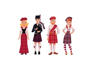 Scottish people in traditional national costumes, tartan berets and kilts