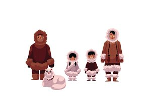 Eskimo, Inuit family of father, mother and kids with dog