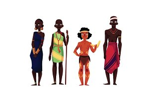 Native black skinned people of African tribes and Australian aborigine