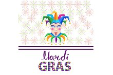 Mardi Gras Colorful Jester Mask and Hat on White