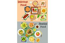 Lunch dishes top view icon set for menu design